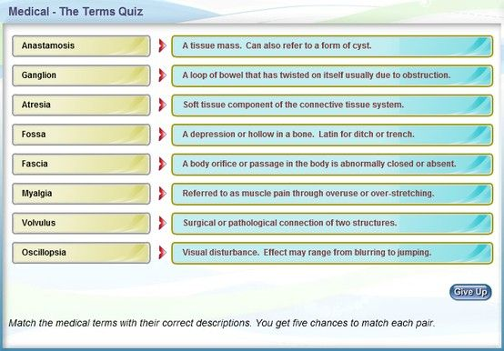 Online Medical Terminology Quiz Medical Terminology Medical