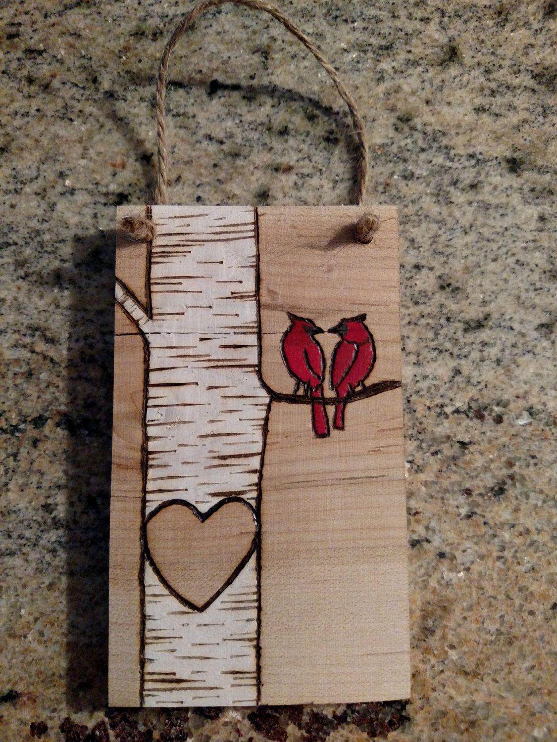 Custom wood burned white birch tree with love birds or cardinals christmas  ornament personalized with initials