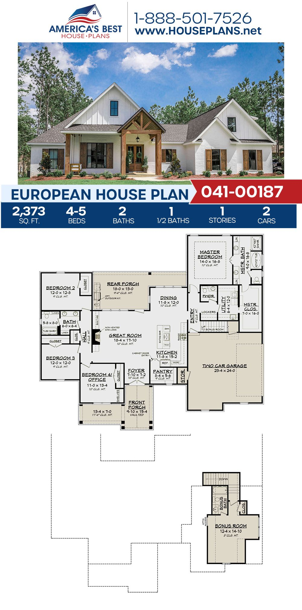 House Plan 041 00187 French Country Plan 2 373 Square Feet 4 5 Bedrooms 2 5 Bathrooms In 2020 Craftsman Style House Plans Farmhouse Floor Plans House Plans Farmhouse