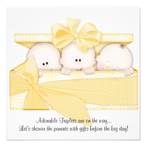 Yellow Triplet Baby Shower Invitation Announcement