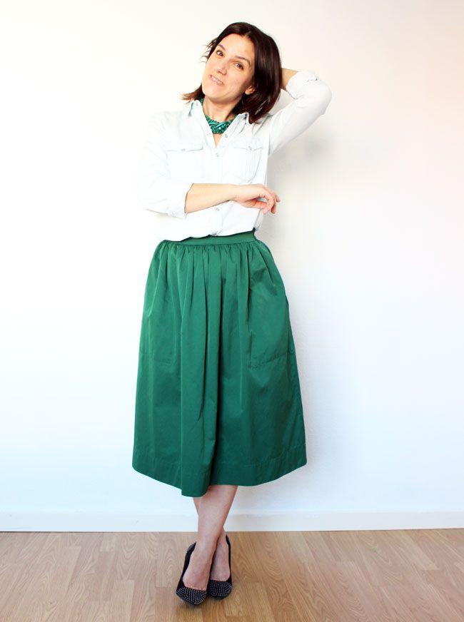 falda verde vaquera zara