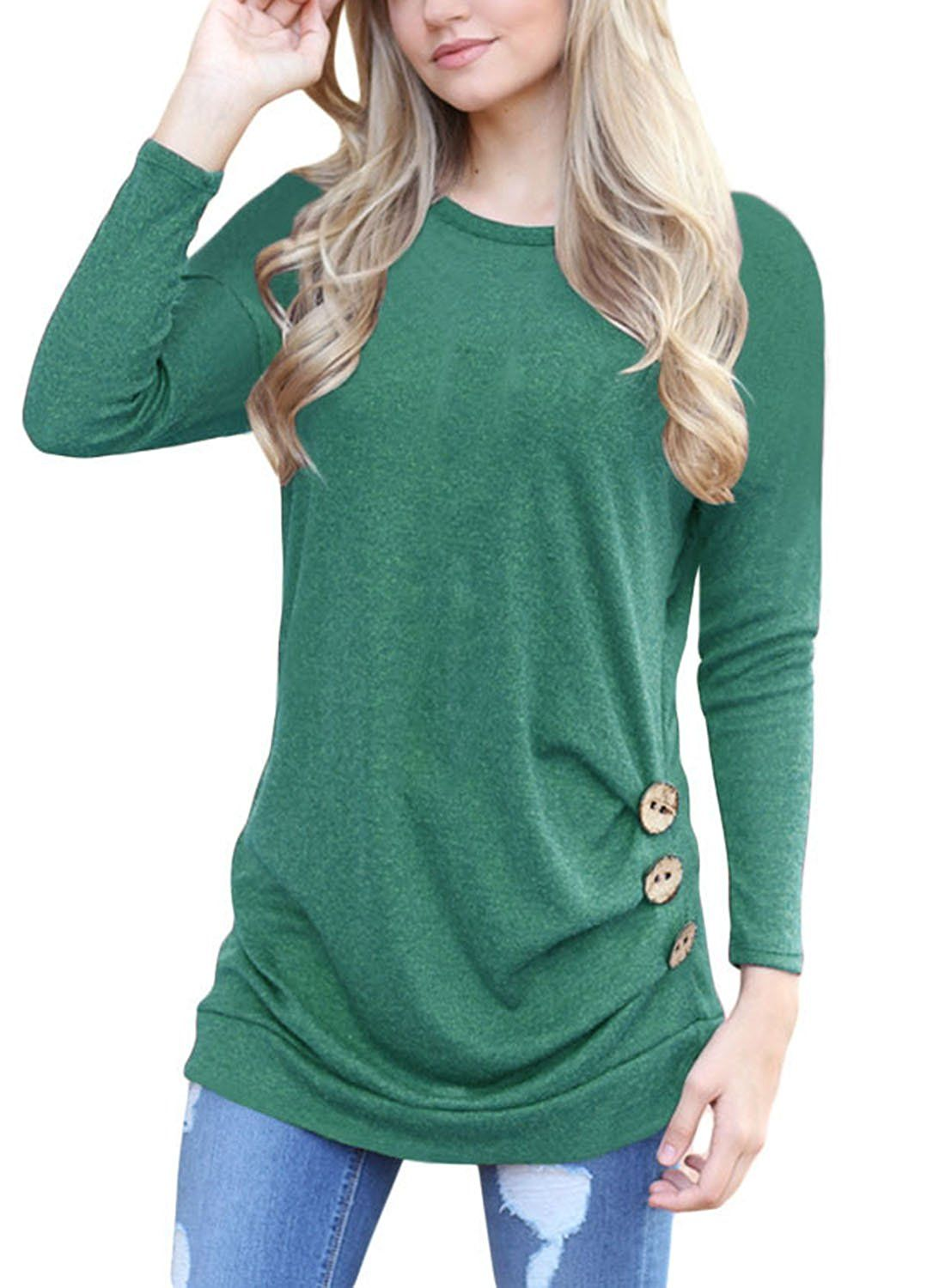 Hotapei womens long sleeve shirts casual round neck loose tunic