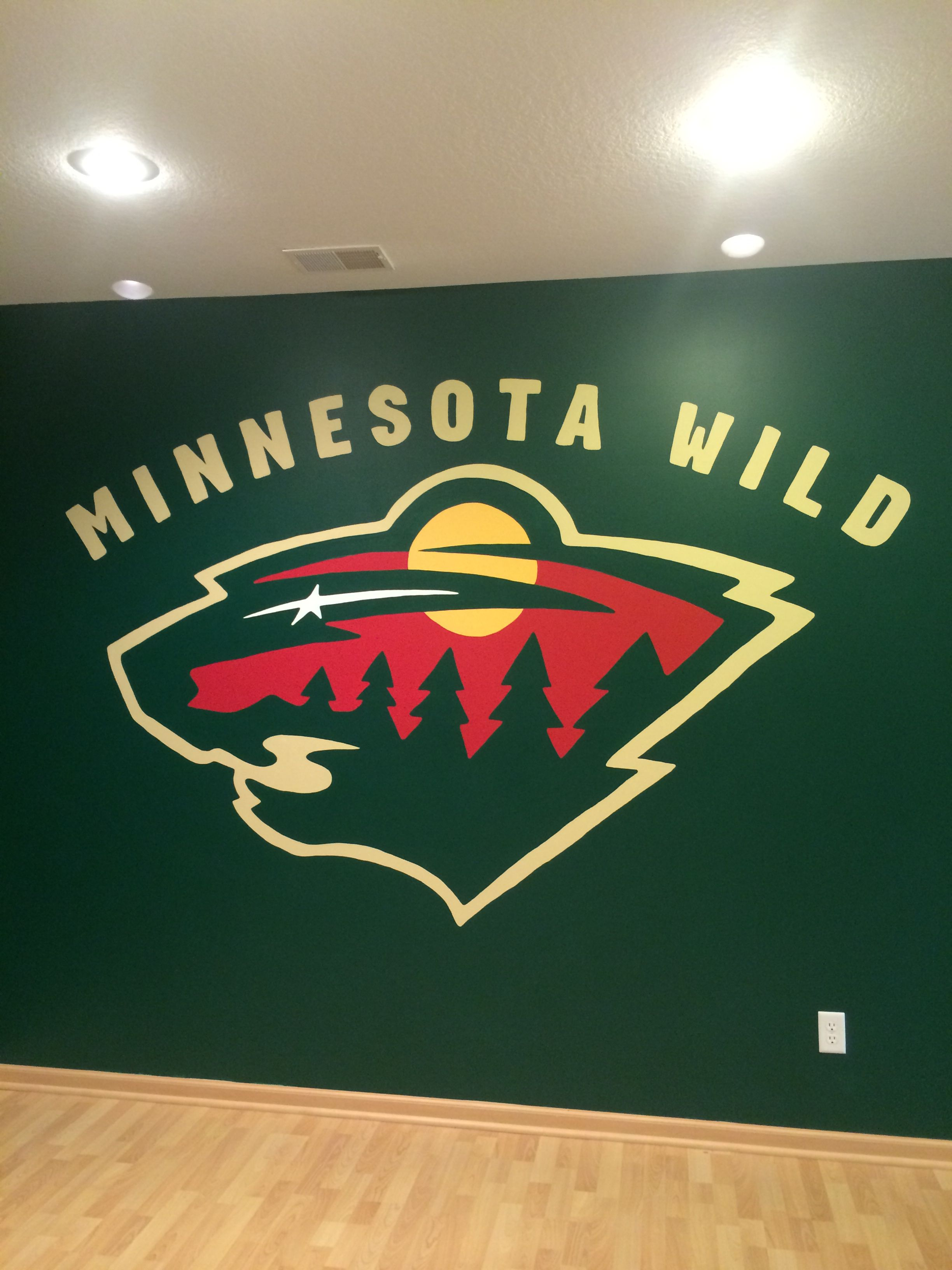 Minnesota Wild Hockey Wall Mural, Sport Team Logo, Hand Painted By ...