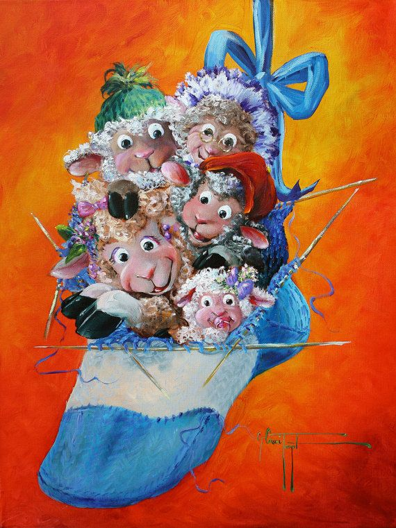 """Close Knit Flock - Sheep Incognito Print, Signed, Double Mat 8""""x10"""" on Etsy, $29.00"""