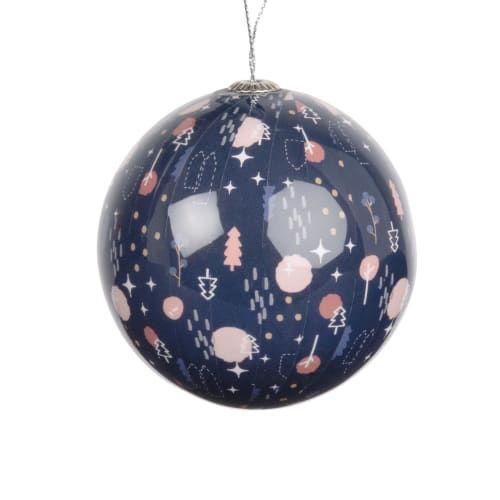 Boule de Noël en papier bleu imprimé graphique #bouledenoel