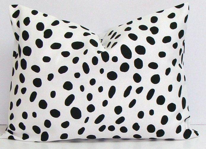 SALE BLACK PILLOW.12x16 or 12x18 inch.Pillow.Pillow Cover.Black Decorative Pillows.Housewares..Black Pillow. Polka Dot.Cushion.Dalmation by ElemenOPillows on Etsy https://www.etsy.com/listing/214683095/sale-black-pillow12x16-or-12x18