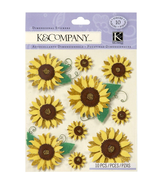 K Company 10 Pk Sunflowers Embellishment Dimensionals Stickers Stickers Embellishments Hot Pink Flowers