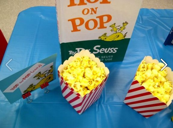 Seuss Baby Shower Food HOP On POP (corn) Got These Cute Popcorn Containers  From Oriental Trading