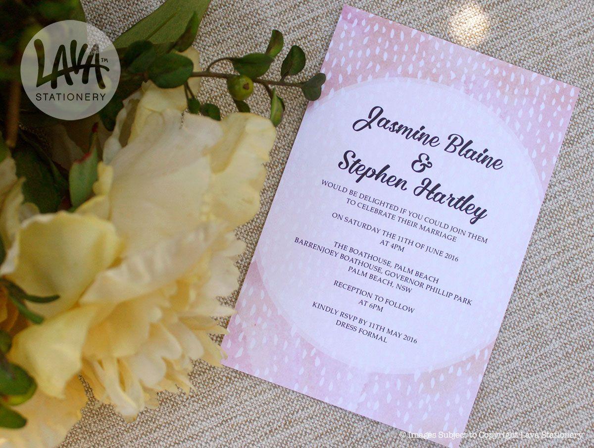 Jasmine Wedding Invitation #engagement #wedding #peach #apricot #pink #watercolour #raindrops #circle #abstract #modern #5x7 - http://etsy.com/au/shop/LavaStationery