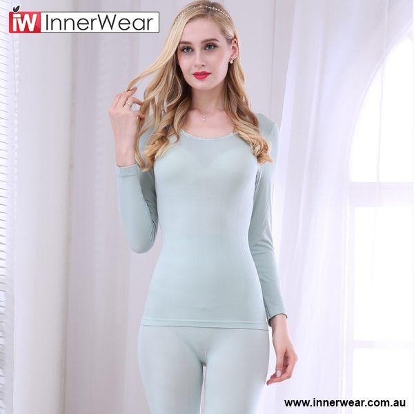 147a0f620ed2 Winter Women Modal O-Neck Lace Collar Long Johns Set Seamless Female ...