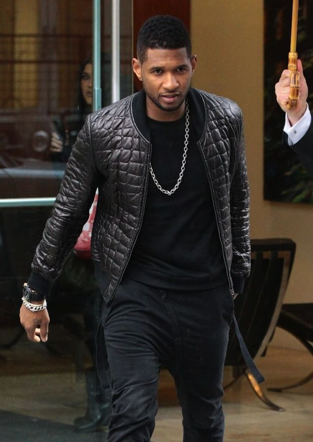 emporio armani quilted leather bomber jacket | Usher wears Emporio ...