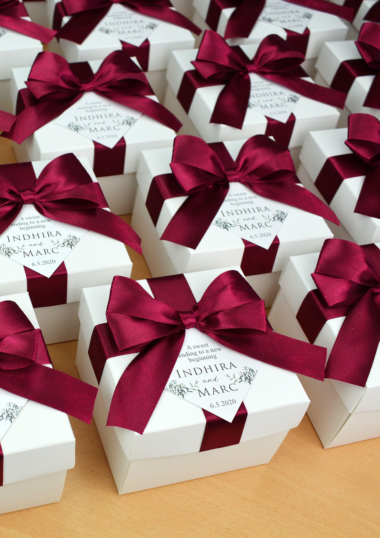 Photo of Elegant Wedding favor box with Wine Burgundy satin ribbon bo…