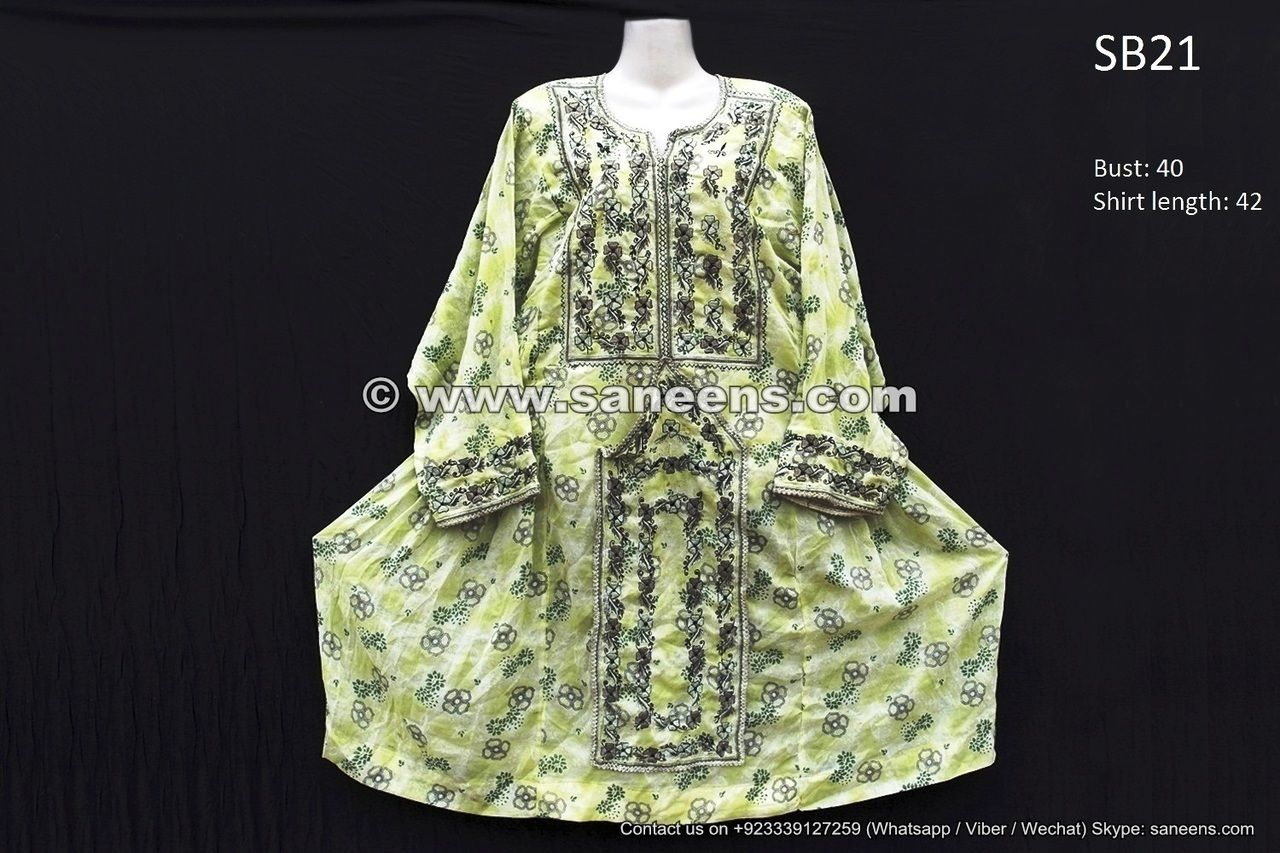 Balochi dress design in light green color with gray embroidery