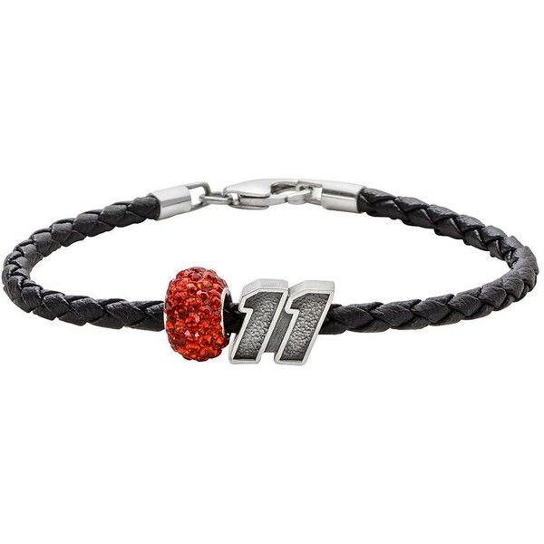 Insignia Collection Nascar Denny Hamlin Leather Bracelet & ''11'' Bead... ($70) ❤ liked on Polyvore featuring jewelry, bracelets, orange, leather bangle, woven bracelet, beaded jewelry, pandora bracelet and pandora jewelry