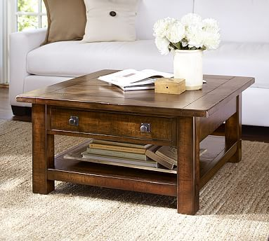 Benchwright Square Coffee Table Rustic Mahogany Home Pinterest - Pottery barn farmhouse coffee table