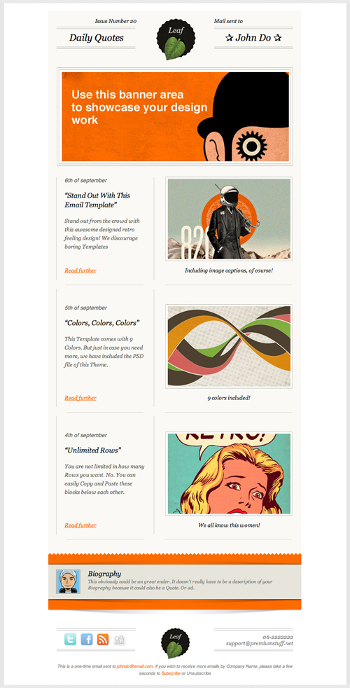 Beautiful Email Newsletters Blog Archive Leaf Retro