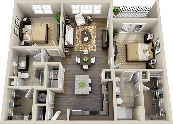 Three bedroom flat layouts google search houses for House plans for flats