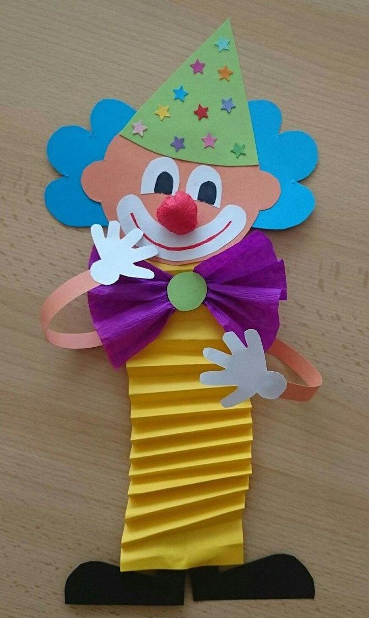 Clown basteln mit Kindern zu Fasching Vorlagen, Ideen