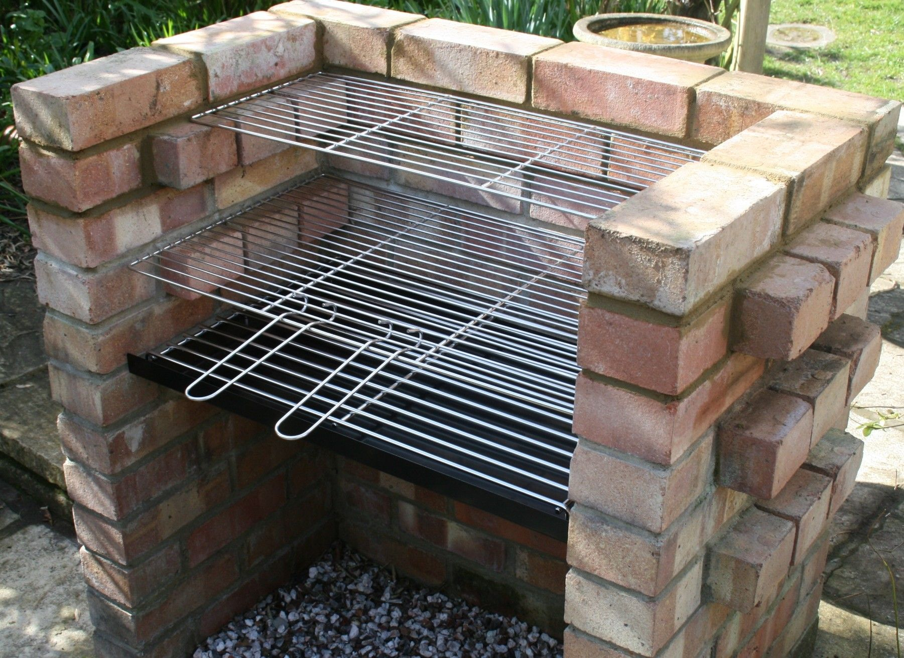 Brick DIY BBQ kit + Warming Grill - SS104C-RB | Brick bbq ... on Diy Bbq Patio id=20527