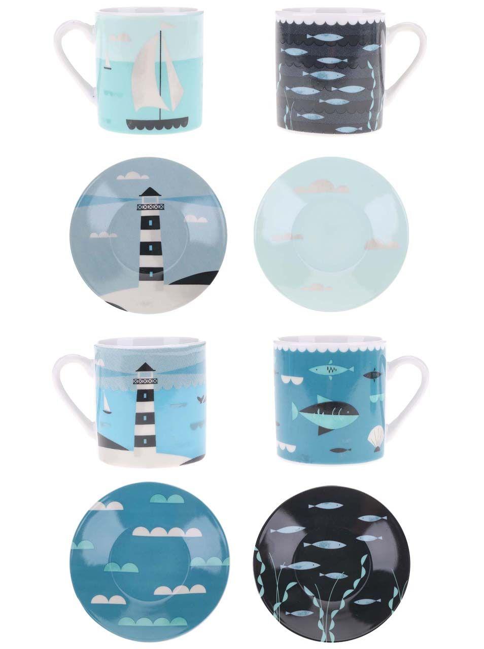 Porcelánová súprava štyroch hrnčekov a tanierikov s farebným vzorom Magpie Ahoy! Espresso