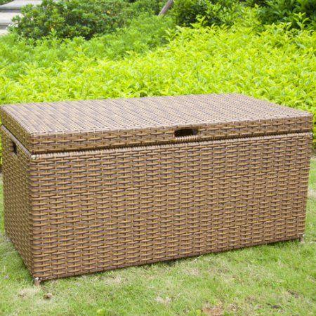 Jeco Inc Outdoor 70 Gallon Wicker Deck Storage Box Size 20 Inchw