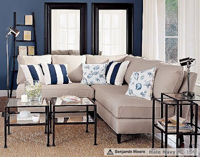 Buy Stripe Pillows To Match Hallway Tan Strips Or Blue Strips Navy Living Rooms Beige Living Rooms Blue Walls Living Room