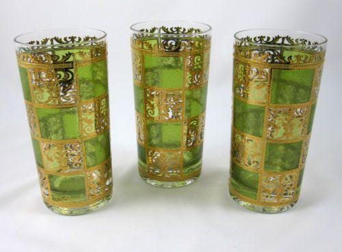 Culver-Prado-Green-3-High-Ball-Glasses-Flat-Tumbler-22K-Gold-Mid-Century-Barware