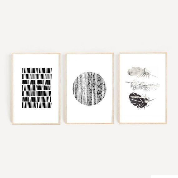 Black And White Art,  Set of 3 Prints, Triptych, Minimalist Poster, Scandinavian Art, Giclee prints,