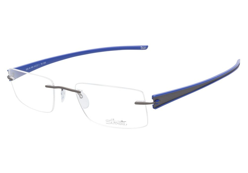 3370e3d5f3 Silhouette Titan Rays 5253 6061 Grey Blue eyeglasses are bold yet barely  there. This sturdy rimless style comes with a matte grey metal bridge  connecting ...