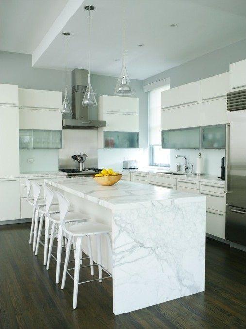 cocina-con-marmol-blanco Cocinas Pinterest Ideas para