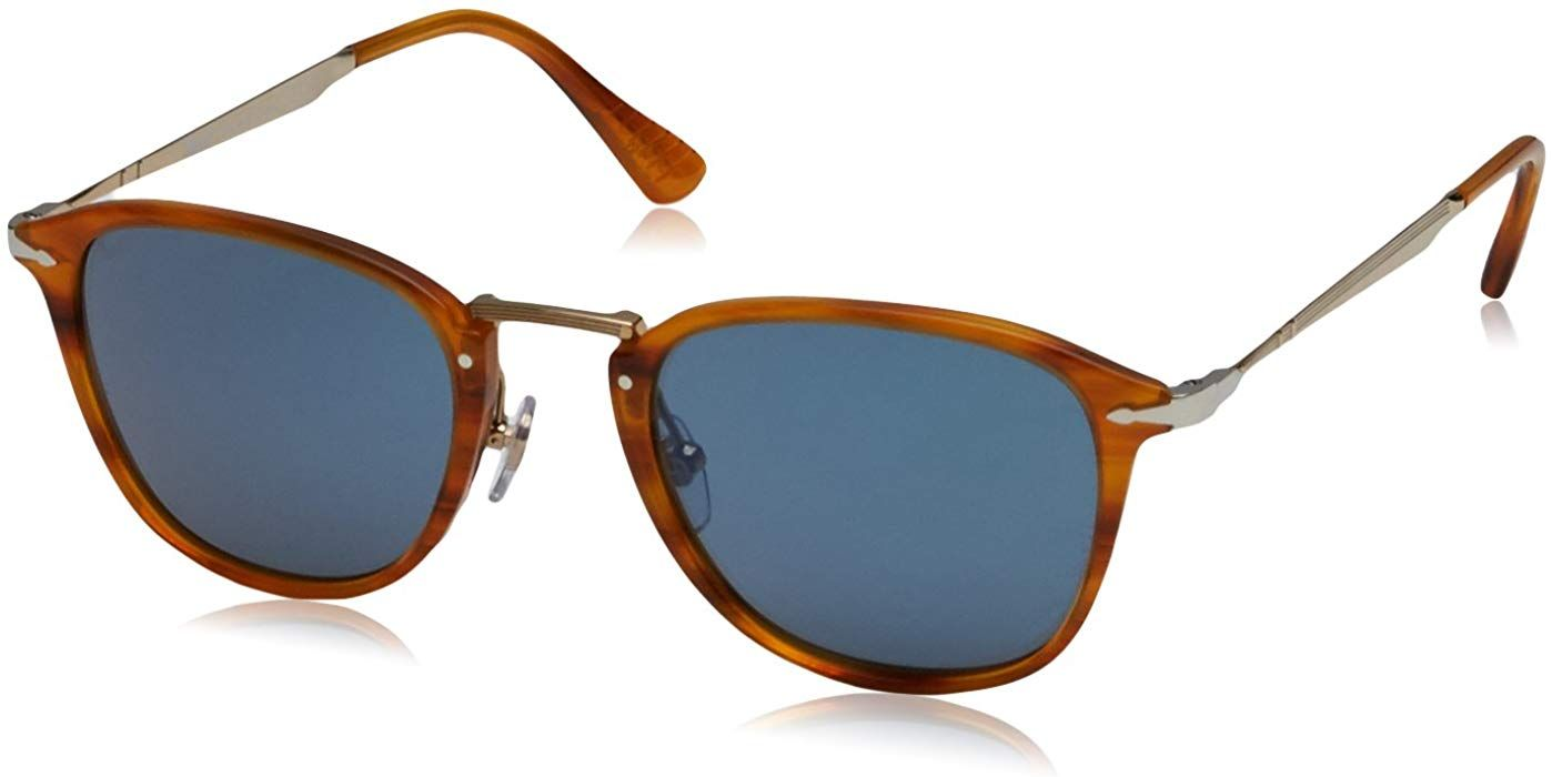 464456d267882 Amazon.com  Persol PO3165S 960 56 Striped Brown PO3165S Square Sunglasses  Lens Category 2 S  Persol  Clothing