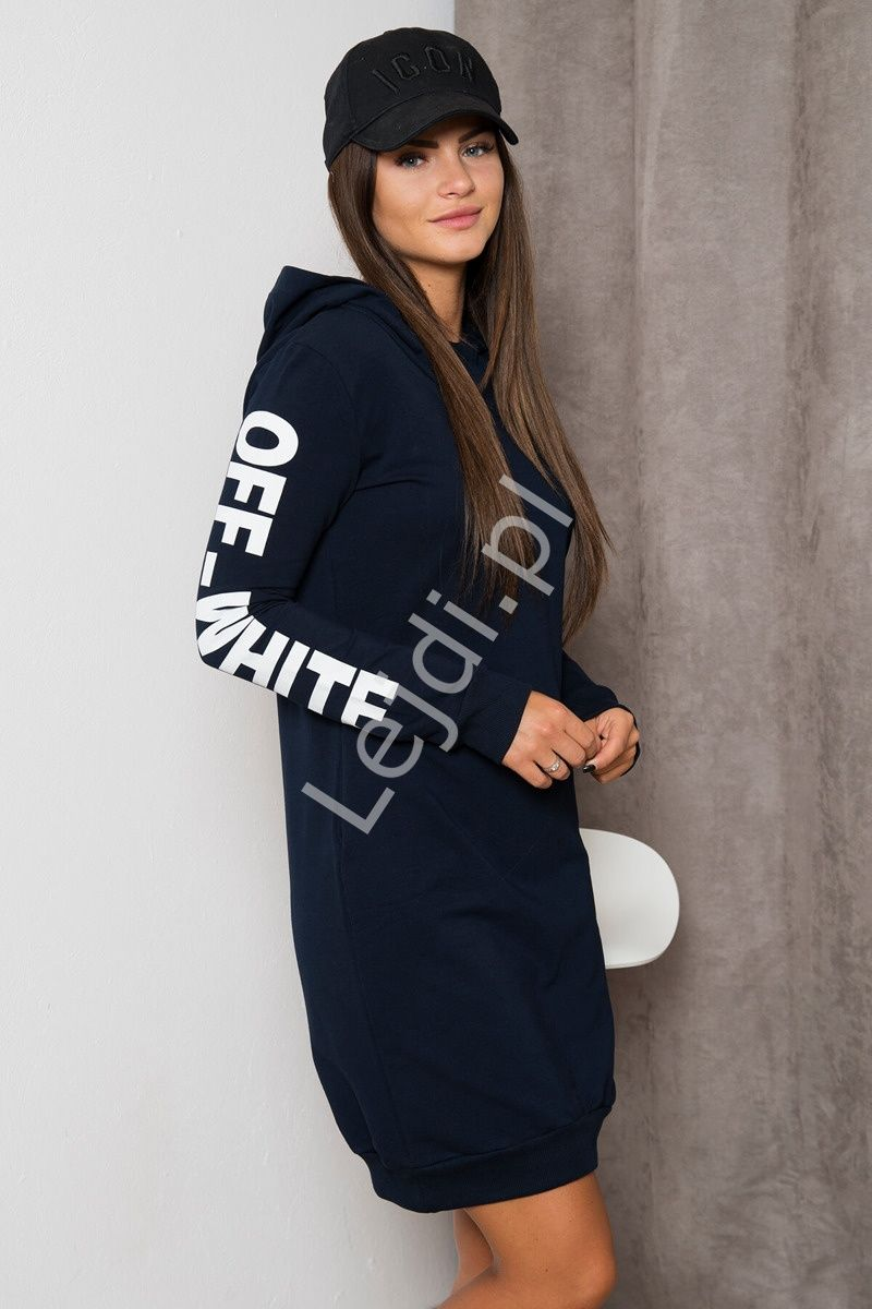 b064044eff Granatowa sportowa sukienka dresowa z kapturem - Lejdi