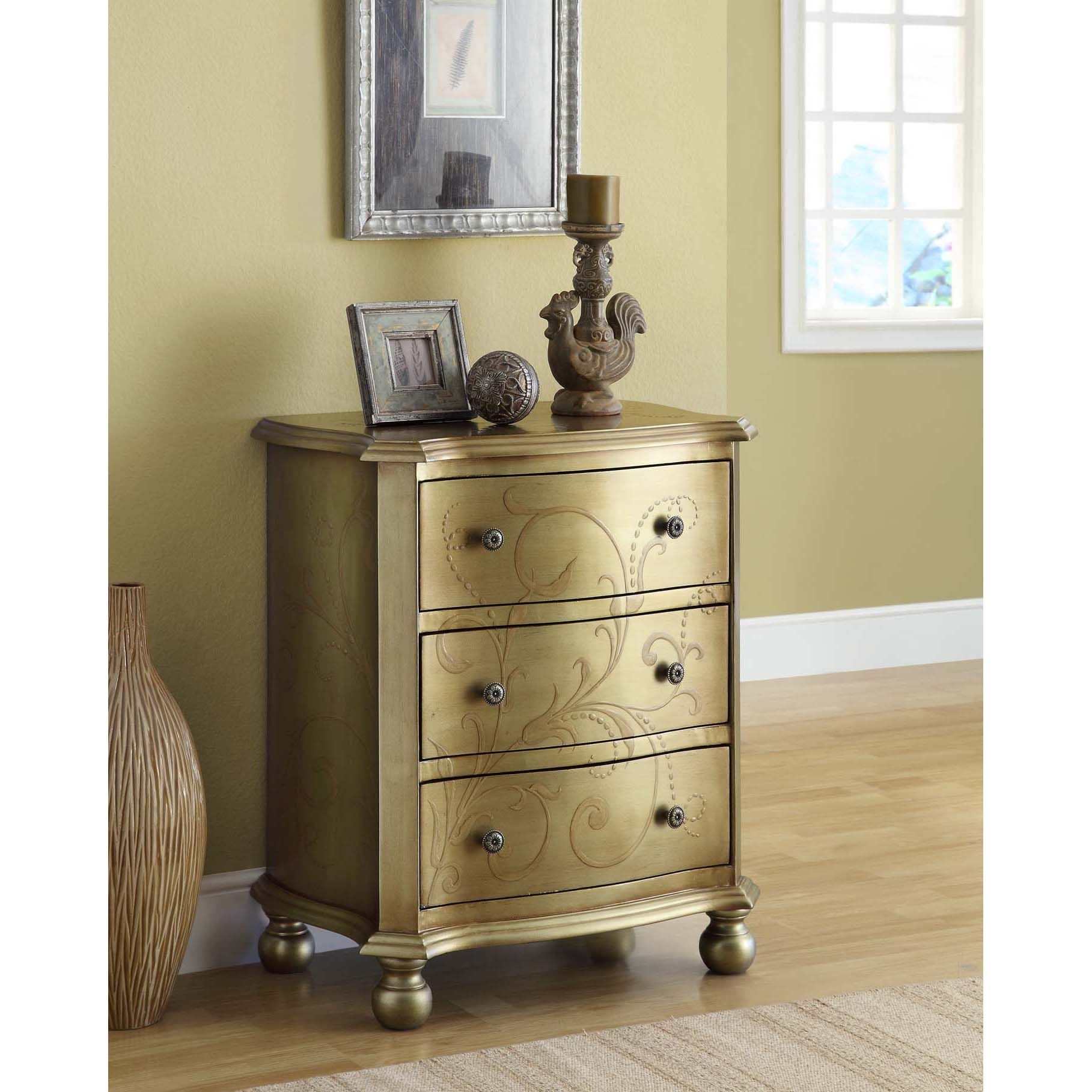 This Traditional And Elegant Cream And Gold Bombay Three Drawer Chest Is  Decorated With Painted
