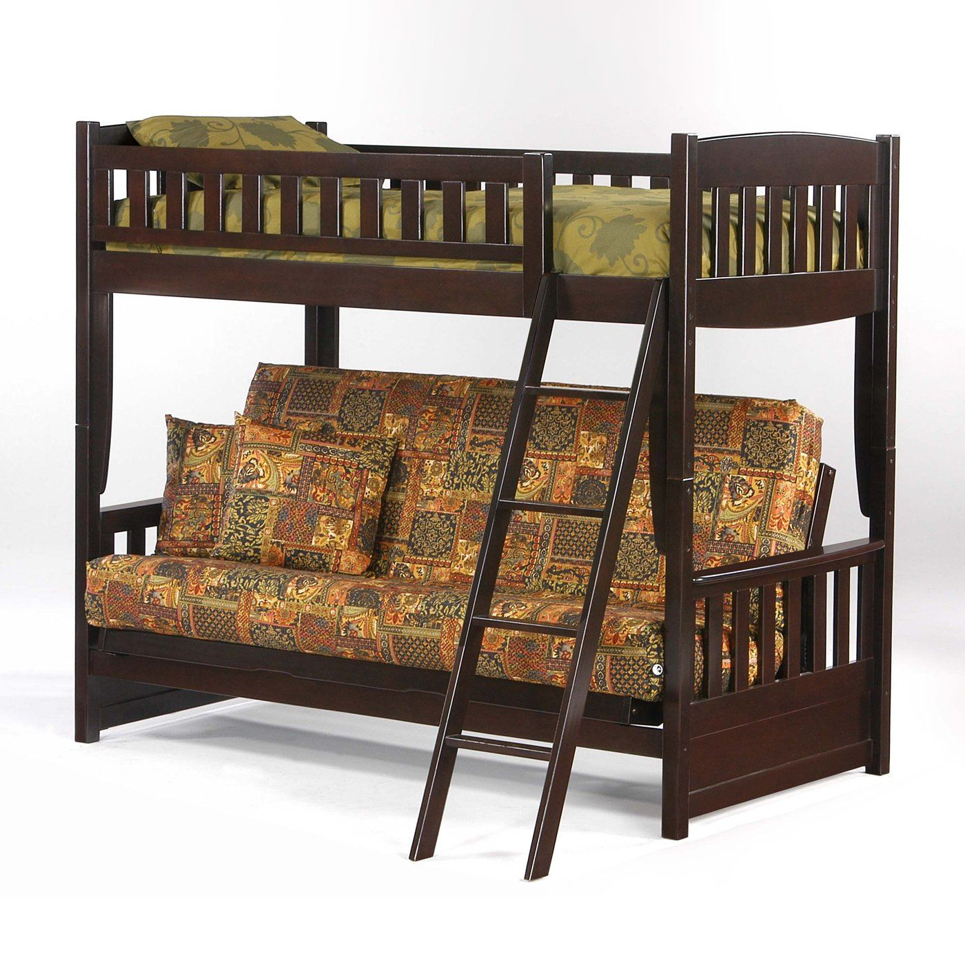Loft bed with twin underneath  Night and Day Furniture Spices Cinnamon Futon Bunk Bed  Bunk Beds