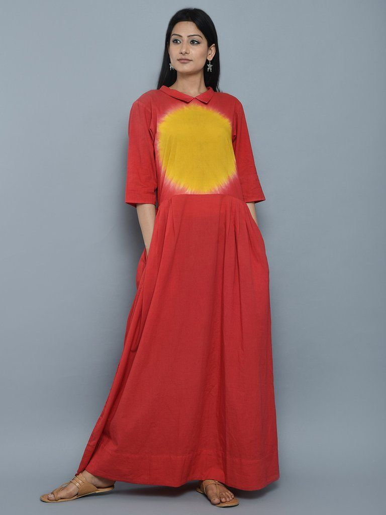 Red yellow cotton clamp dyeing long dress classy casual in