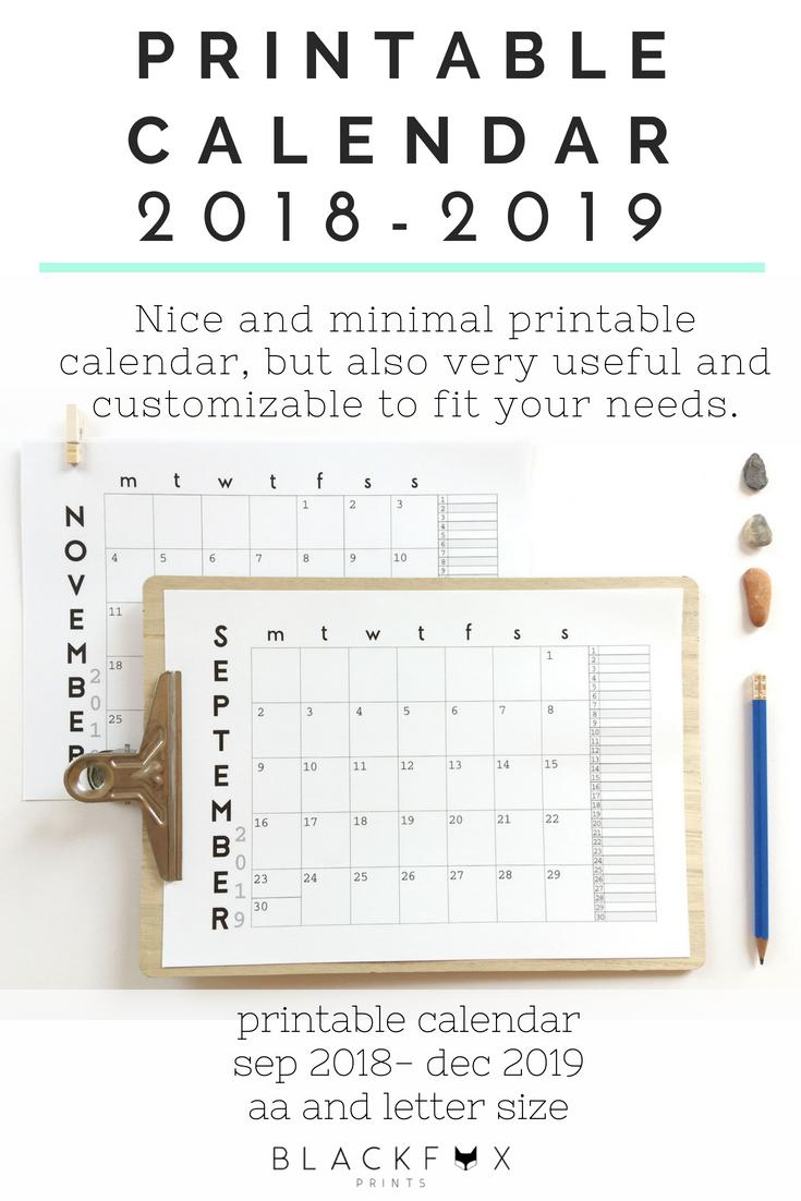 Minimalist Calendar Template : Printable calendar  minimalist wall