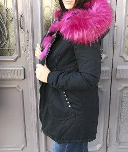 manteau femme noir fourrure rose