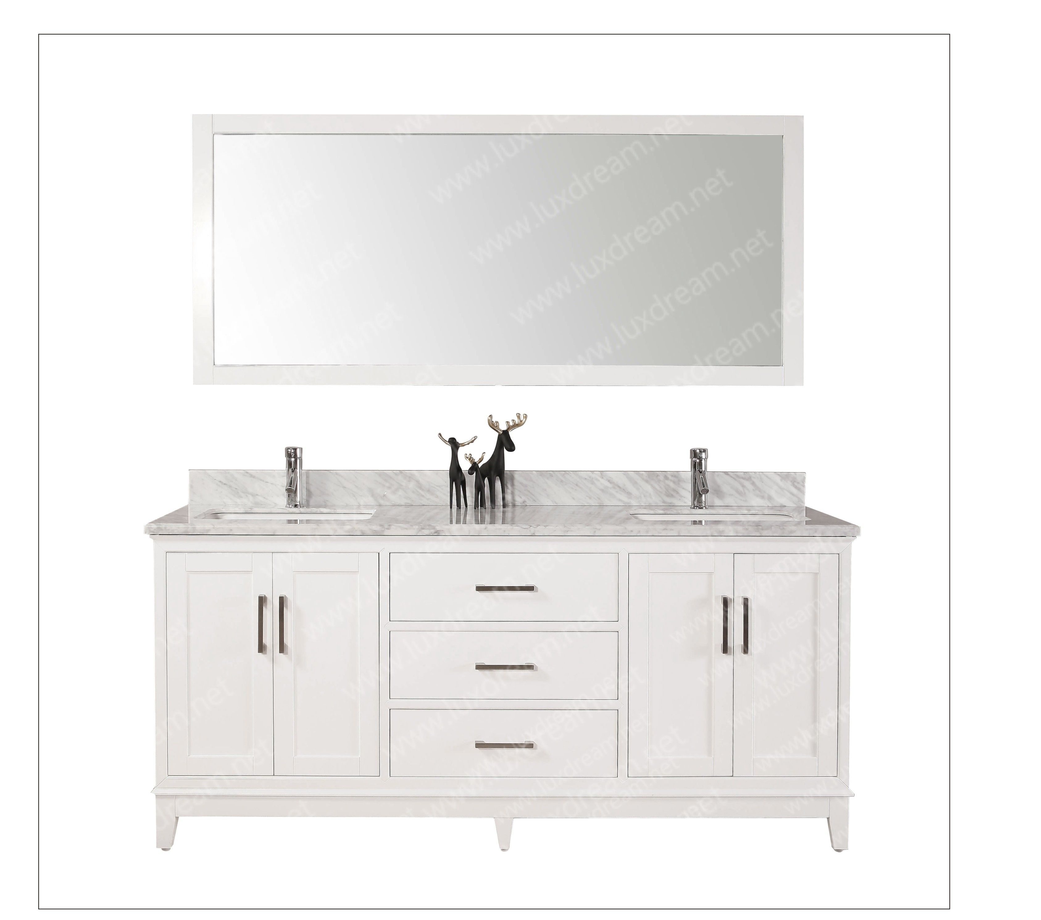 Uu double sinks bathroom vanity with carrara white marble
