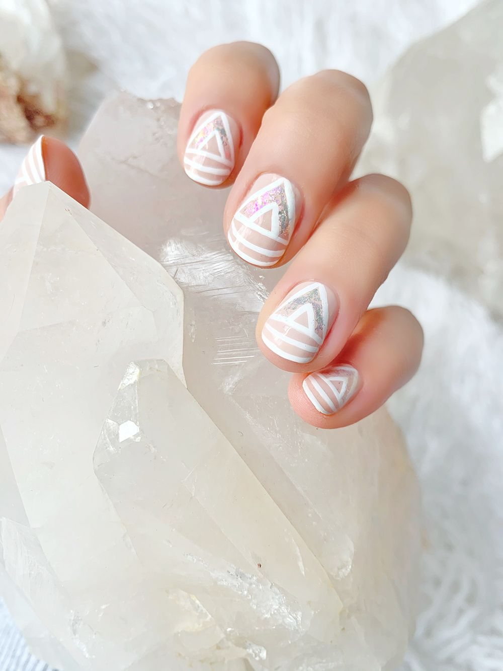 Positive Vibes Only Clear Out The Negative Energy With Quartz Inspired Nails Lulus Com Fashion Blog In 2020 White Nail Polish White Nails Quartz Nail