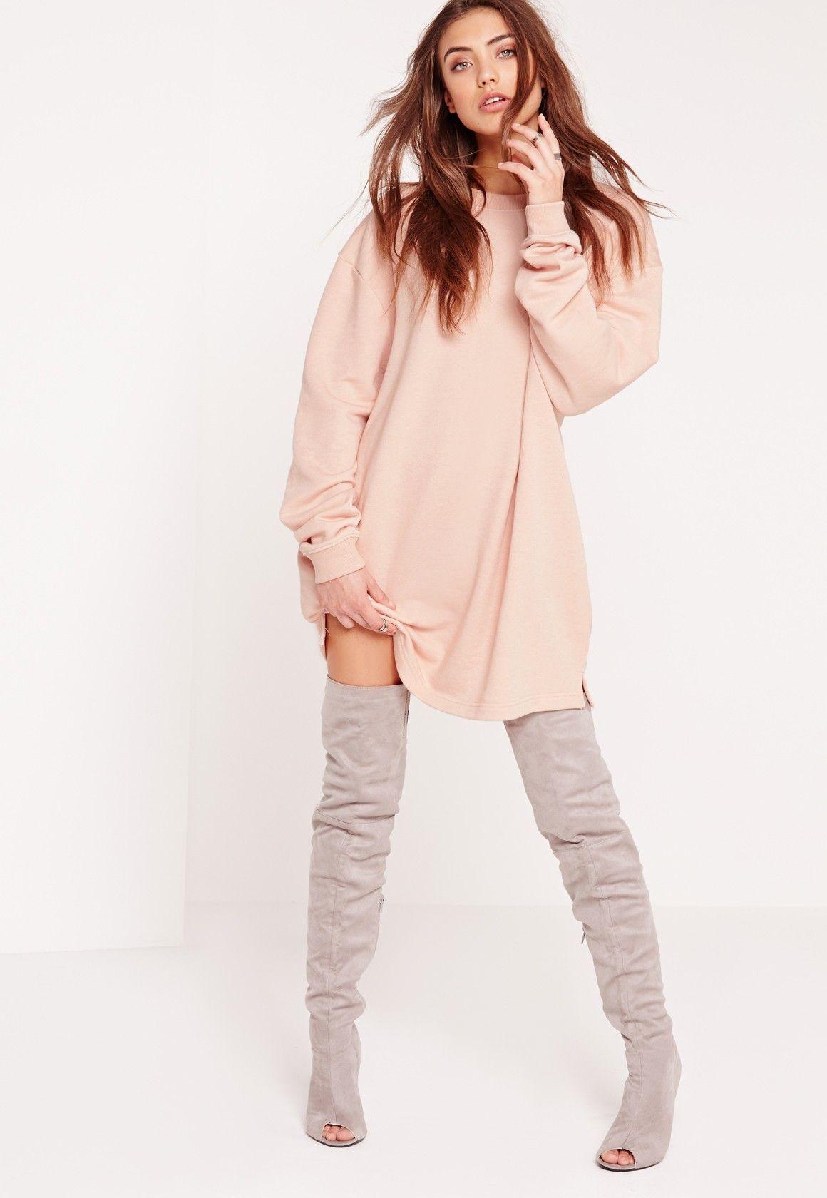 754aa13e189 Missguided - Oversized Sweater Dress Nude
