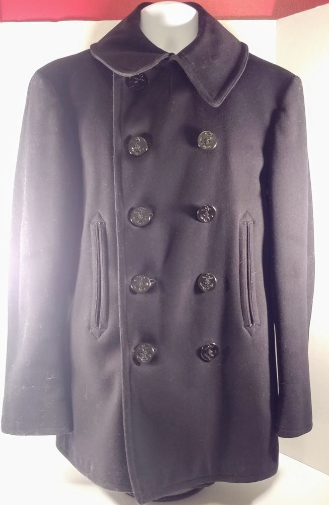 Vintage WWII US Navy 100 Wool Pea Coat Naval Clothing