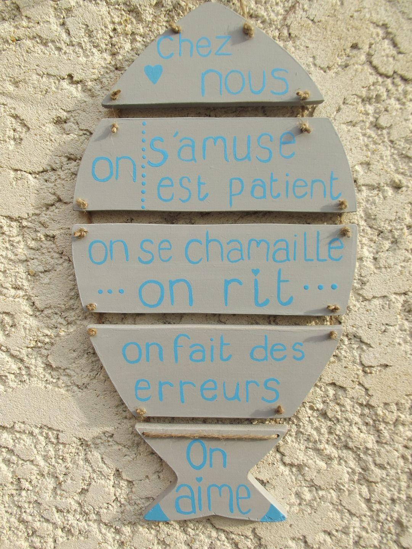 pancarte en bois poisson et ses messages : Décorations murales par ptitecrea