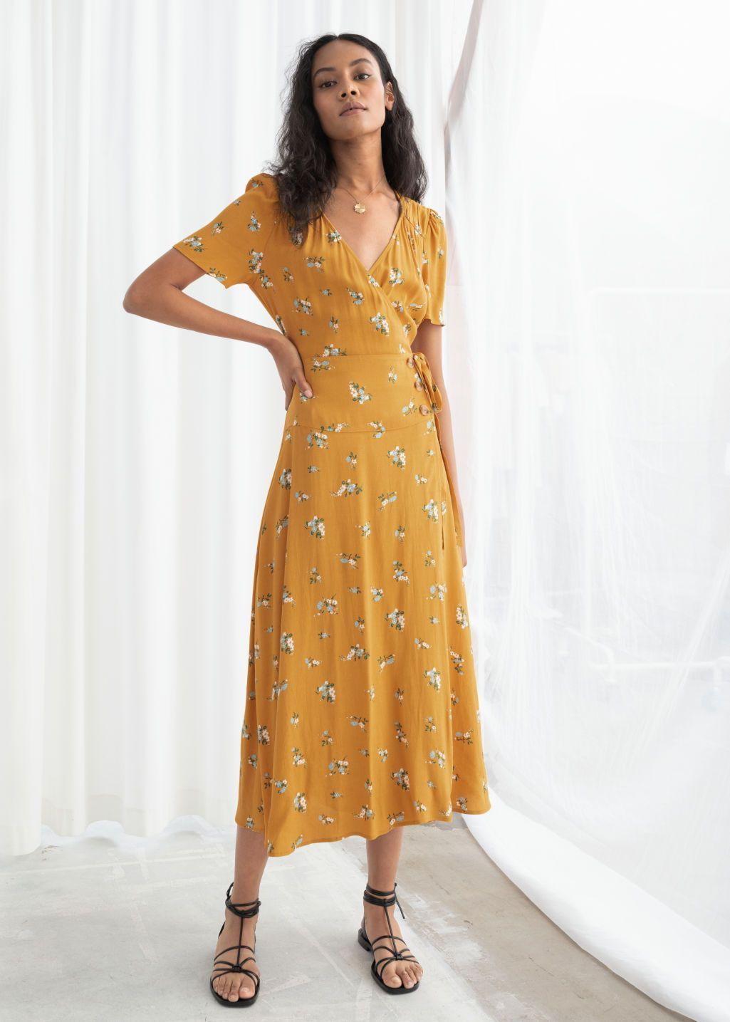 Model Front Image Of Stories Flowy Wrap Midi Dress In Yellow Wrap Midi Dress Yellow Midi Dress Fashion [ 1435 x 1025 Pixel ]