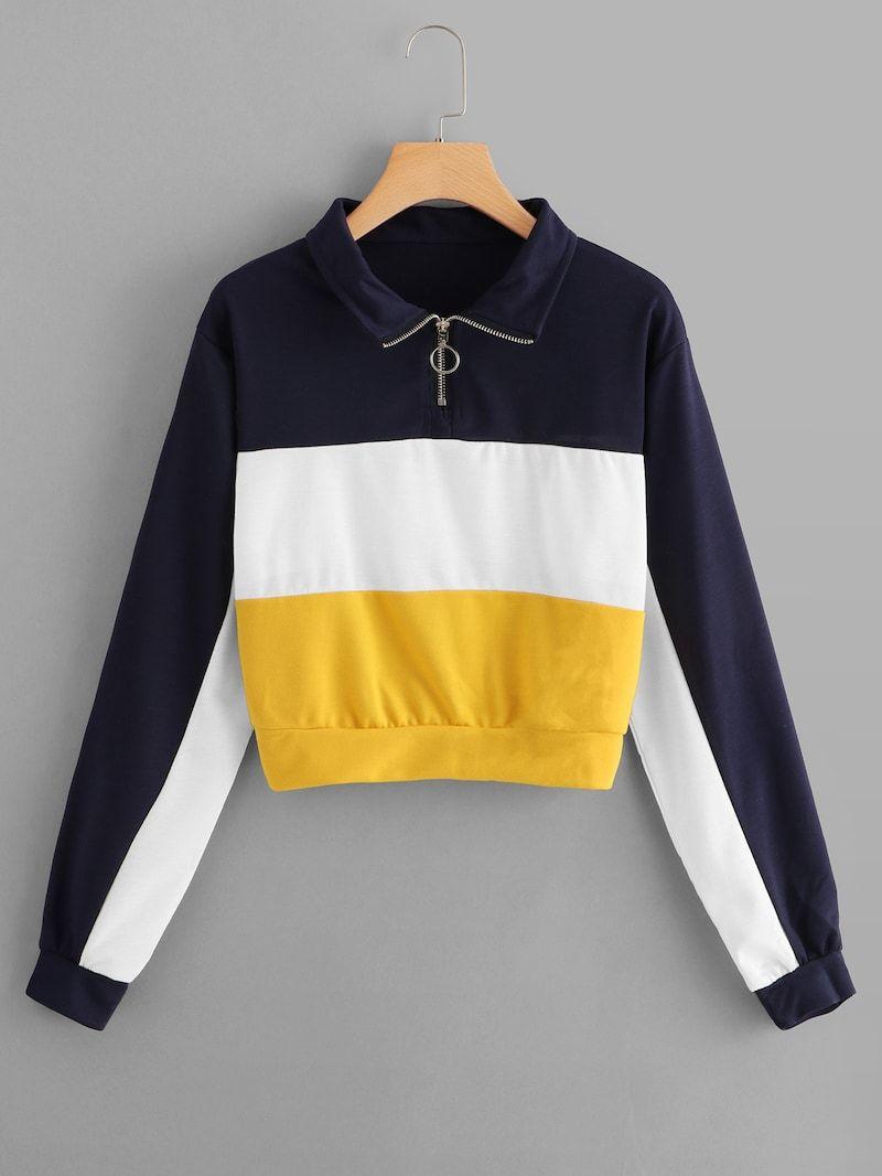 Color Block Quarter Zip Sweatshirt Quarter Zip Sweatshirt Sweatshirts Zip Sweatshirt [ 1066 x 800 Pixel ]