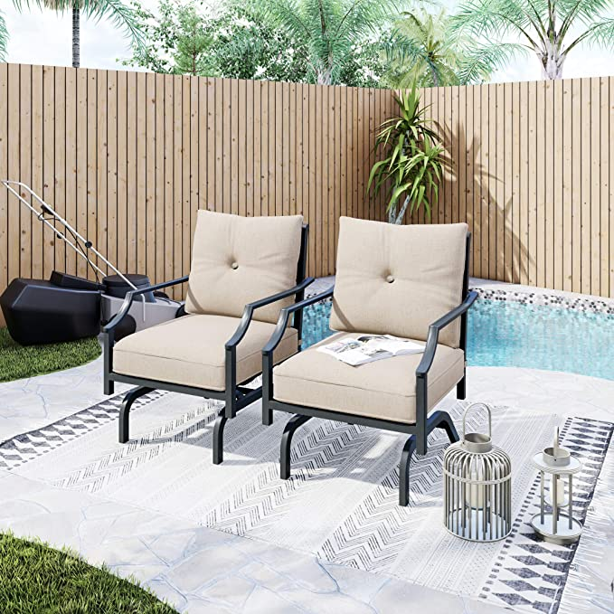 Amazon Com Lokatse Home 2 Pieces Outdoor Conversation Furniture Patio Bistro Armchair Set Metal Single Dining Ch In 2021 Chairs With Cushions Armchair Sets Furniture
