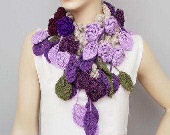 crochet lariat flower scarf by SenasShop on Etsy