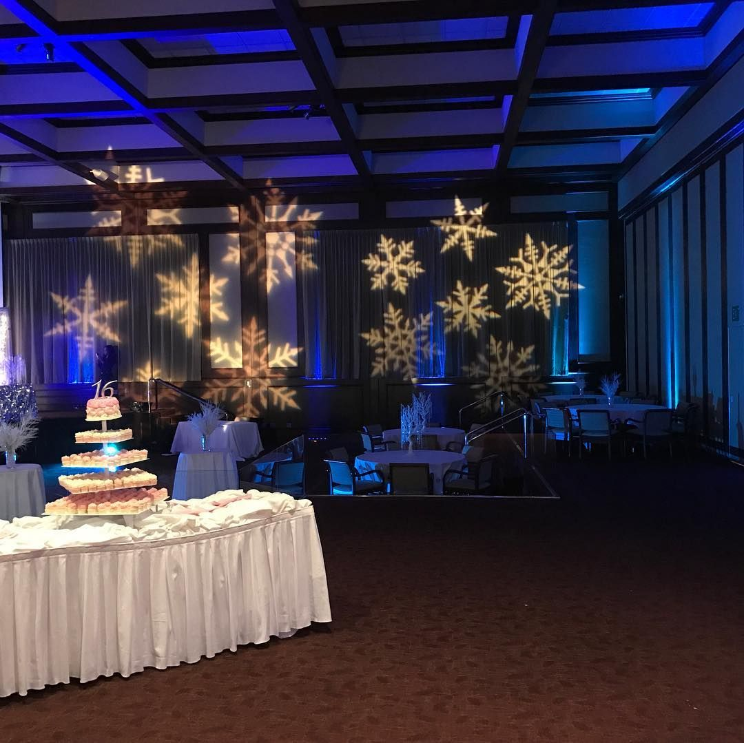 Holiday Party with Snowflake Lights