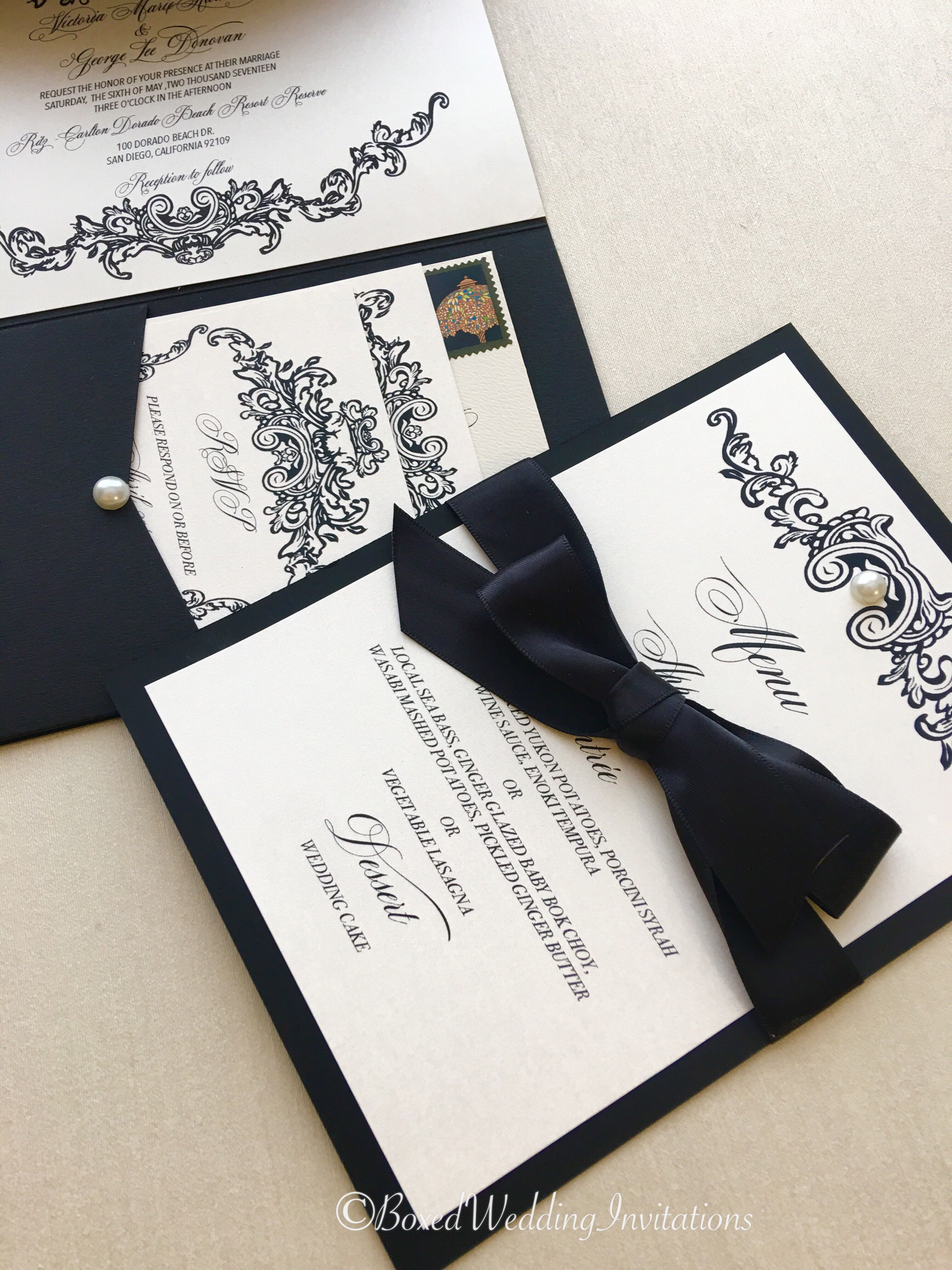 I Love This Royal Design For A Black Tie Wedding It Sets The Mood Event See More At Boxedweddinginvitations Invitation: Black Tie Wedding Invitation Box At Websimilar.org