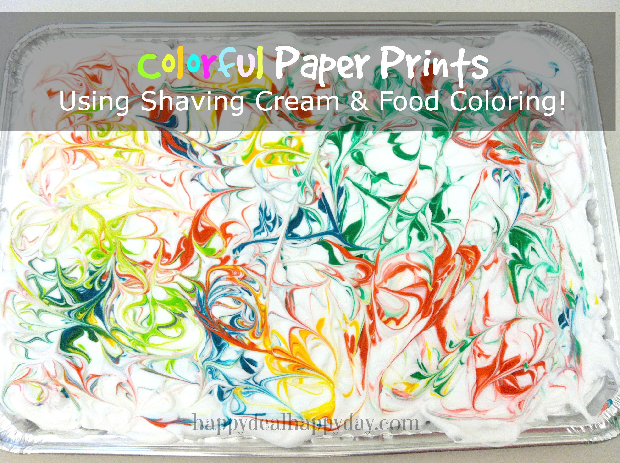 Colorful Paper Prints Using Shaving Cream & Food Coloring ...
