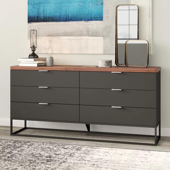 Amanda 6 Drawer Double Dresser Allmodern Modern Dresser